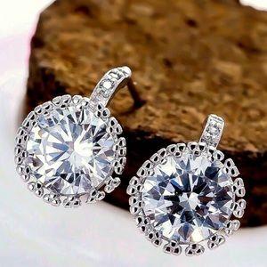 Silver Tone 12mm AAAA CZ Post Earrings